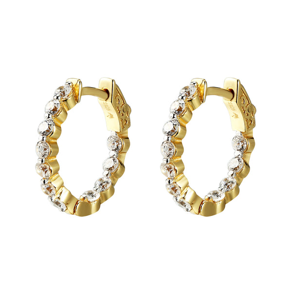 Sterling Silver Hoop Earring Solitaire lab diamonds 14k Yellow Gold Finish