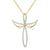 Angel Wings Design Solitaire Cross Silver Pendant Chain