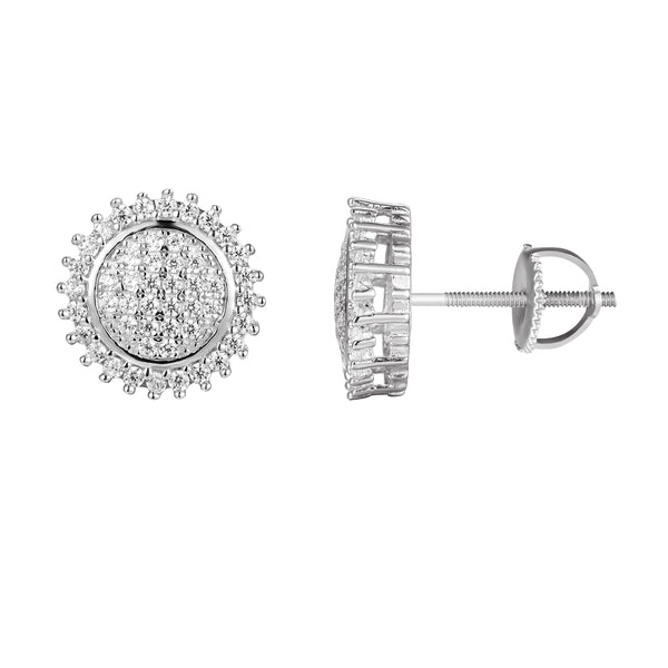 Solitaire Prong Set Silver Stud Earrings
