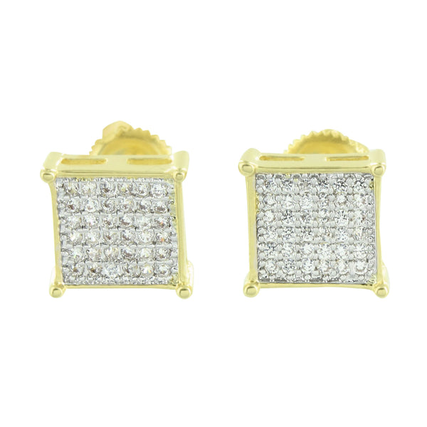 Screw Back Square Earrings Micro Pave Yellow Gold Finish 8 MM