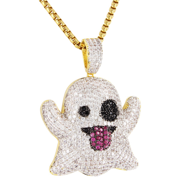 Sterling Silver SnapChat Emoji 14k Gold Finish Custom Pendant