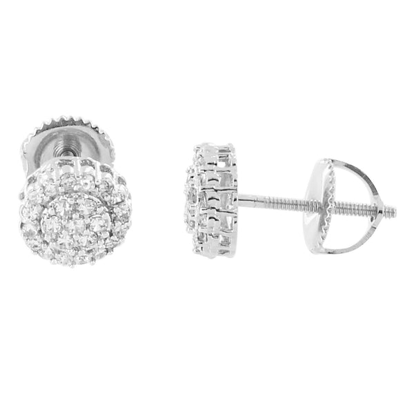 Round Cluster Earrings 14K White Gold Finish Lab Diamonds Halo Design Screw On Studs