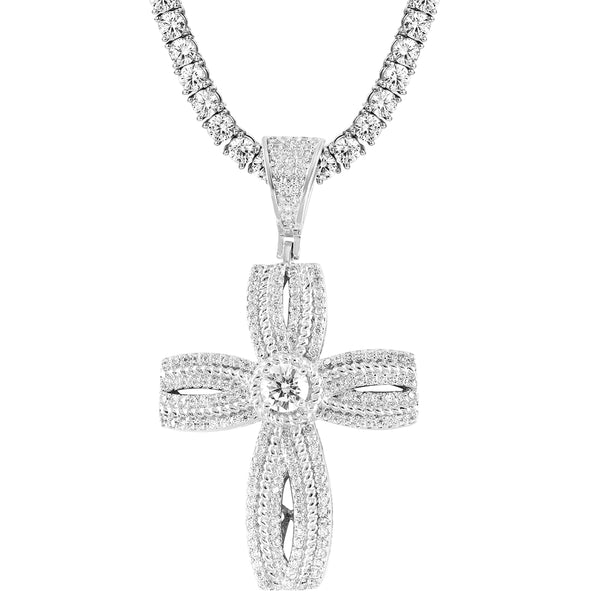 Religious Solitaire Cross Infinity Style IcedOut Pendant Free Chain