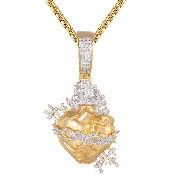 Icy Heart Gold Tone Jesus Cross Crown Custom Pendant Chain