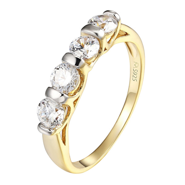 14k Gold Finish Ring Wedding Band Solitaire Sterling Silver Simulated Diamonds