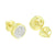 Gold Finish Earrings Round Stylish Simulated Diamonds Cluster Set