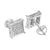 White Square Shape Earrings Screw Back Micro Pave
