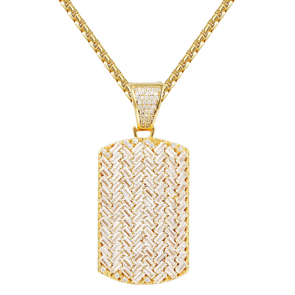 Designer Baguette Stones Iced Out Dog Tag Pendant