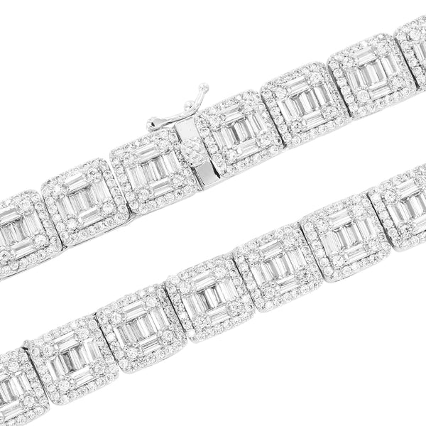 Baguette & Solitaire New Square Links IcedOut Tennis Chain
