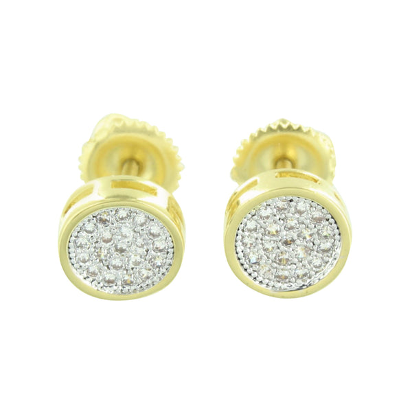 Gold Finish Round Earrings Studs Screw Back 7 MM