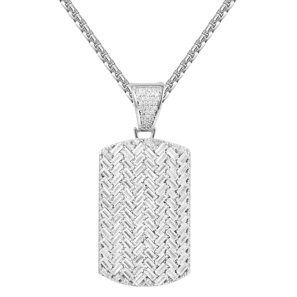 Silver Baguette Stones Iced Out Dog Tag Designer Pendant