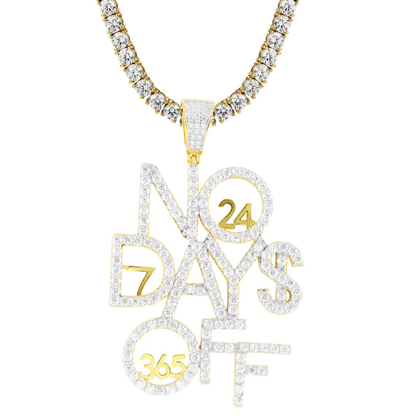 Mens No Days Off Work Bling Gold Tone Custom Pendant Chain