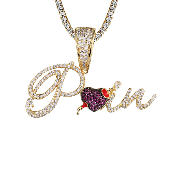 Men's Cursive Pain Heart Love Struck Icy Pendant Chain