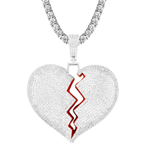 Custom Red Broken Heart Iced Out Big Size Solid Back Pendant