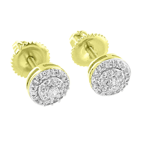 Halo Design Earrings 14K Yellow Gold Iced Out Simulated Diamonds Screw Back Studs