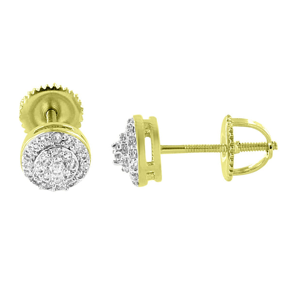 Halo Design Earrings 14K Yellow Gold  Simulated Diamonds Screw Back Studs