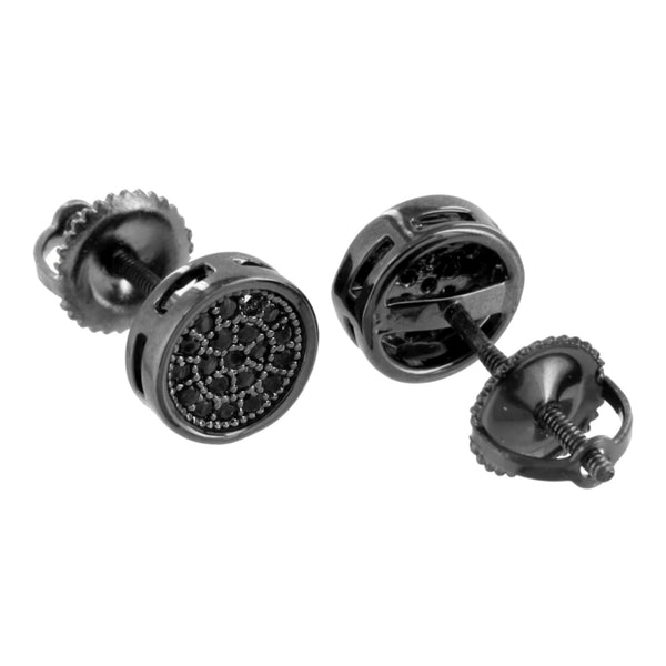 Black Finish Round Earrings Screw Back Elegant