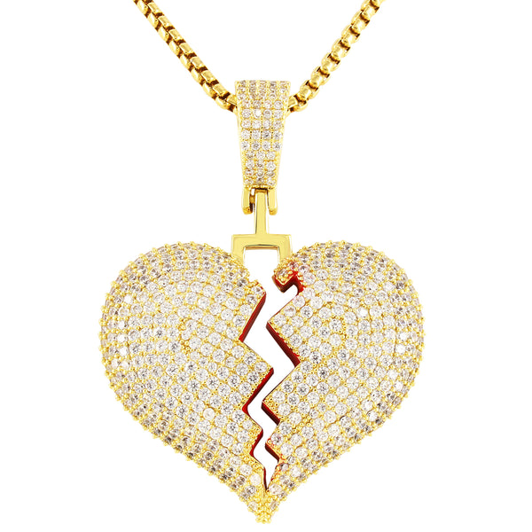 Mini  Red Broken Heart Solid Back Rapper Pendant Chain