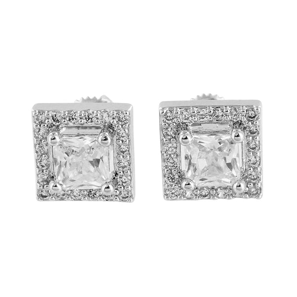Princess Cut Earrings 14K White Gold Finish Lab Diamonds Screw Back