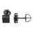 Square Cube Black Earrings Screw Back