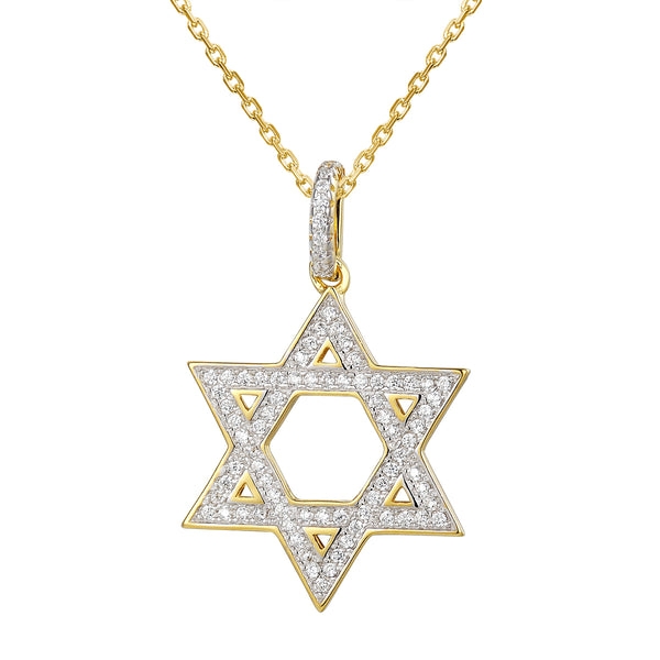 Iced Out Star of David 14k Gold Finish Pendant Chain