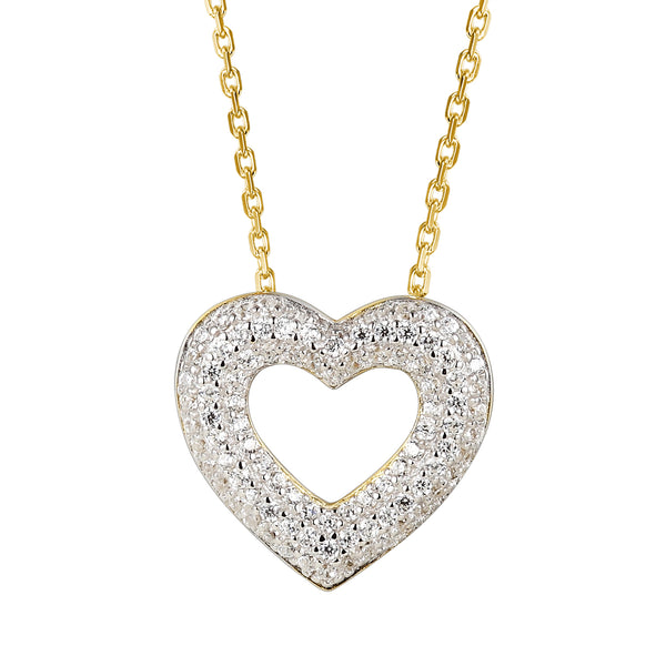 14K Gold Finish Open Heart Lab diamonds Pendant Valentine's Set