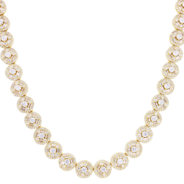 Solitaire Baguette IcedOut Designer Round Tennis Necklace