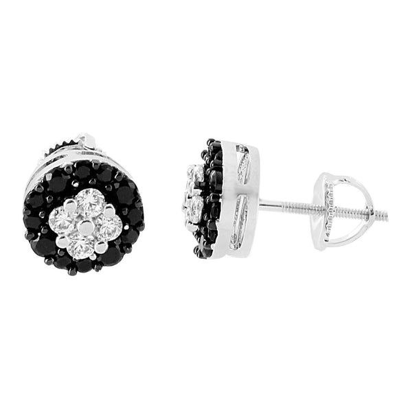 Round Cluster Set Earrings Black White Simulated Diamonds Studs Screw Back Bling Hip Hop