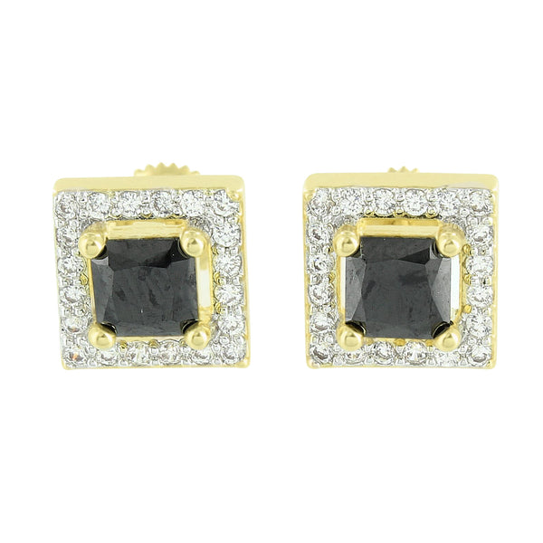 Black Princess Cut Earrings Screw On 14K Gold Finish Mens