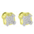 14K Gold Tone Earrings Simulated Diamonds Screw Back Studs Mens Micro Pave Hip Hop