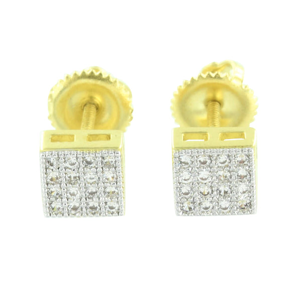 Men Womens Earrings Square Shape Screw Back Brand