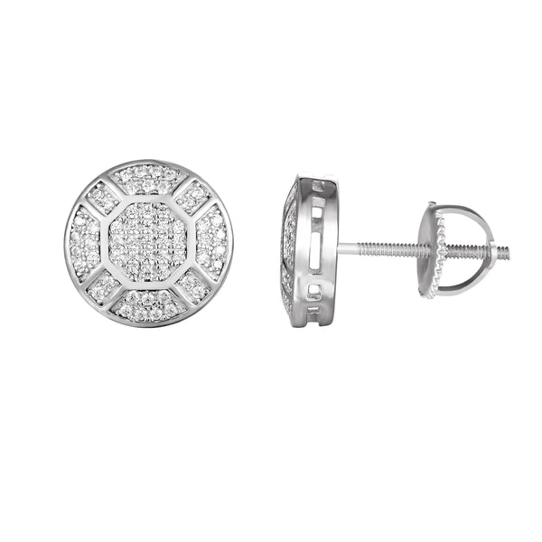 Sterling Silver Bling Solitaire Round Stud Screw Back Earrings