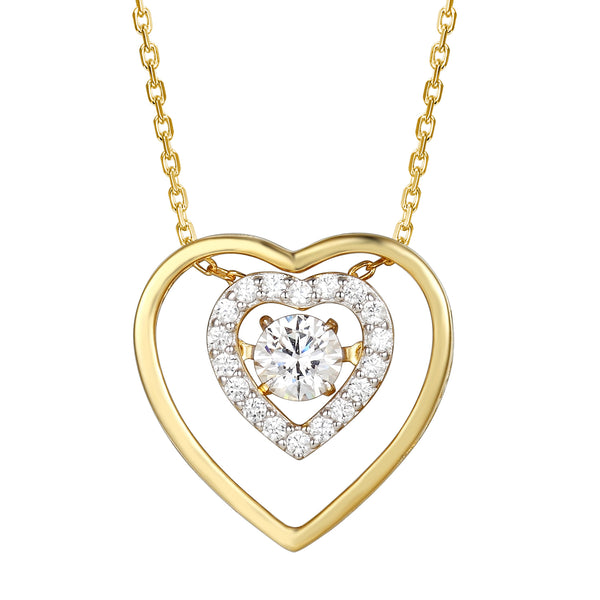 Double Heart with Center Stone Love Pendant Valentine's Set