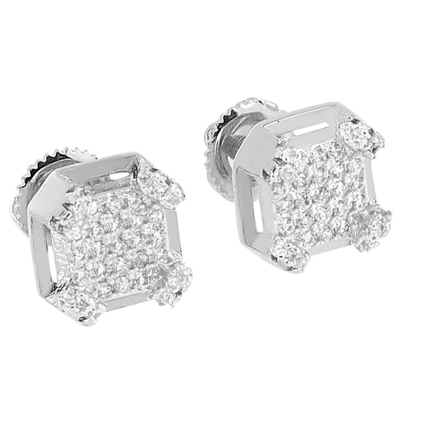 14K White Gold Finish Earrings Iced Out Simualted Diamonds Screw Back Studs Elegant