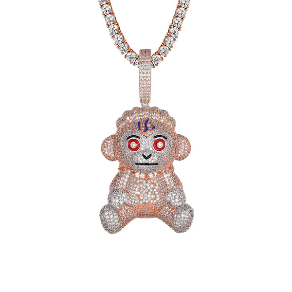 Rose Gold 38 Monkey Cartoon Icy Hip Hop Pendant Chain