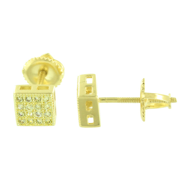 Yellow CZ Square Earrings Yellow Gold Finish Earrings Brand New