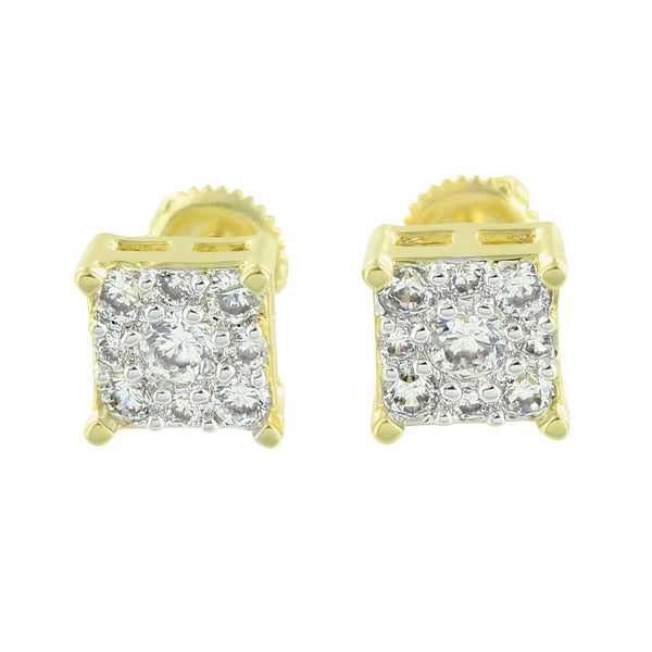 Cluster Earrings Square Shape Screw Back 14K Gold Finish Lab Diamond