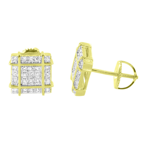 Square Shape Earrings 14K Gold Finish Studs Bling Simulated Diamonds 9mm Cluster Set