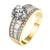 Solitaire Round Cut Ring Wedding Promise Baguette 14k Gold On Sterling Silver