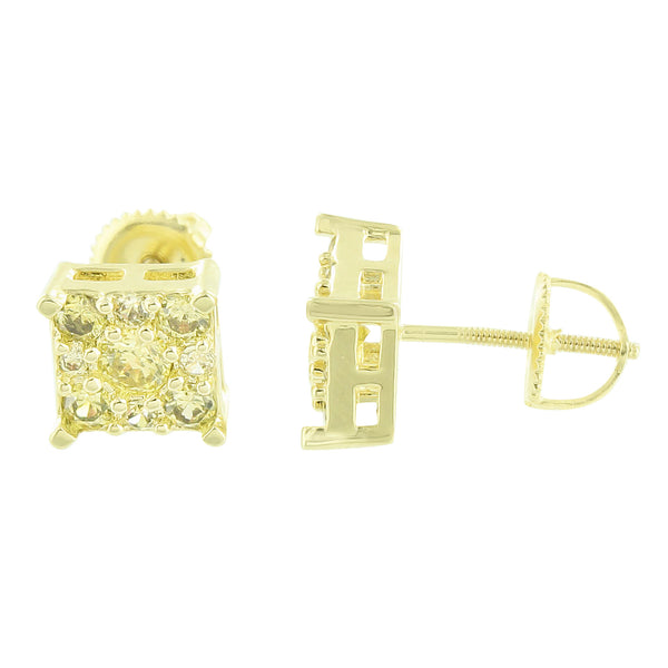 Canary Earrings Screw Back Cluster Set 14k Yellow Gold Finish