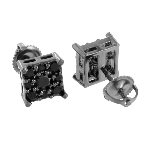 Black Earrings Square Design Black PVD Screw Back Prong Set Classy
