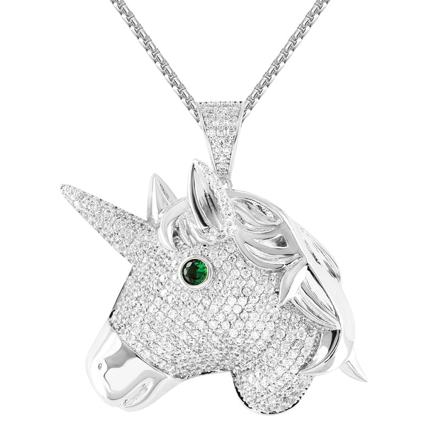 White Blessed Unicorn Emerald Eye Royal Pendant 24