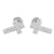 White Jesus Cross Earrings Screw Back Prong Set Crucifix Studs
