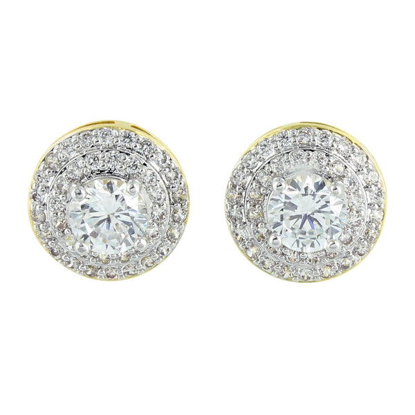 Round Gold Solitaire Earrings 14K Finish Screw Back Pave Mens Womens