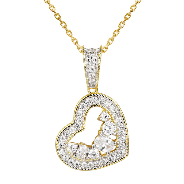 Solitaire Lab diamonds Double Heart Pendant Valentine's Gift