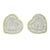 Heart Design Earrings Screw Back 14K Yellow Gold Finish Lab Diamonds