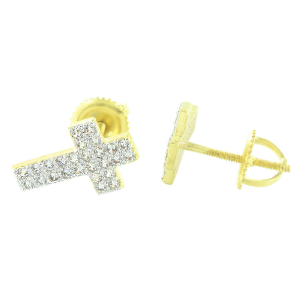 Jesus Cross Earrings Gold Finish Designer Custom 13 MM Sale