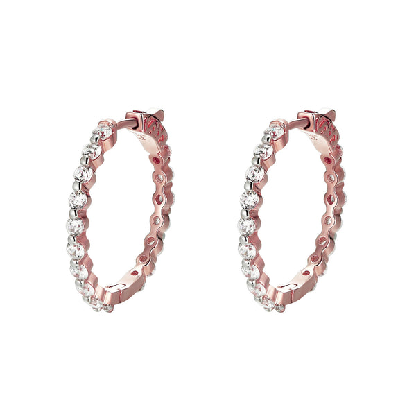 Sterling Silver 14k Rose Gold tone Prong Solitaire Hoop Earrings