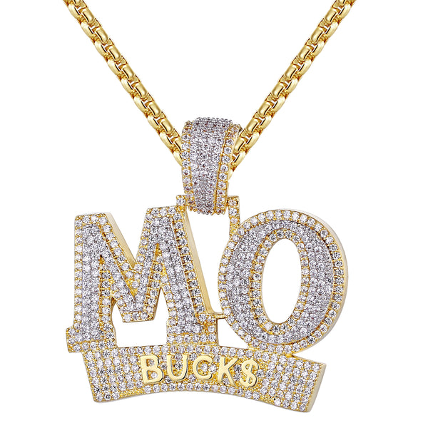 Silver MO Bucks Dollar Money 3D Men's Custom Pendant Chain