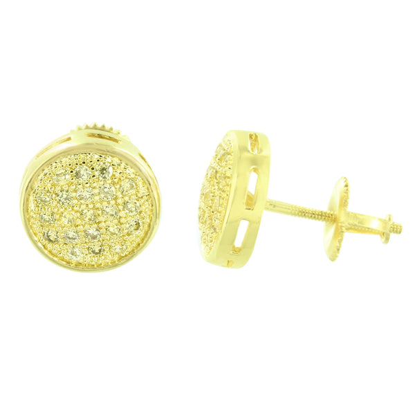 Round Shape Earrings Gold Finish Screw Back Men Womens Studs